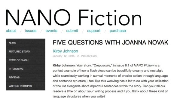 Interview in NANO Fiction